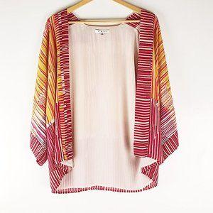 Cabi Red & Orange Waterfall Striped Kimono Size M